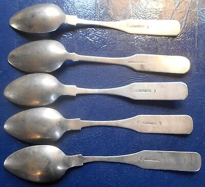 Lot (5) Early Coin Silver Coffin End Teaspoons Hallmarked MOULTON Family # WB 12