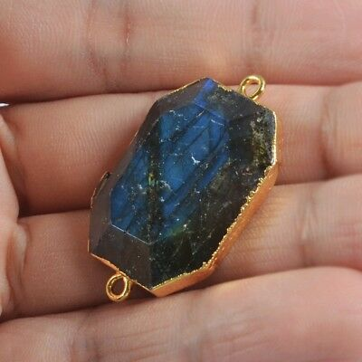 Natural Labradorite Faceted Connector Gold Plated B076279
