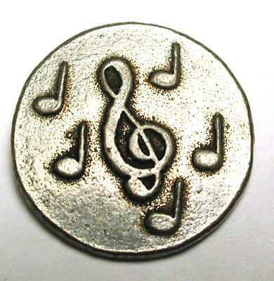 """BB Vintage Metal Button Music Imaged Treble Cleft & Notes - Cute! 3/4"""""""