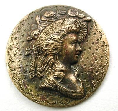 """Antique Brass Button Detailed Young Woman's Head w/ Etched Accents - 3/4"""""""
