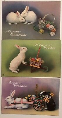 Lot of 3 Bunny Rabbits with Carts~Flowers Vintage Easter Postcards-Unused-a392