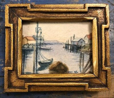 Mini Peggy's Cove Watercolor Painting Carved Painted Frame Initialed ML Montreal