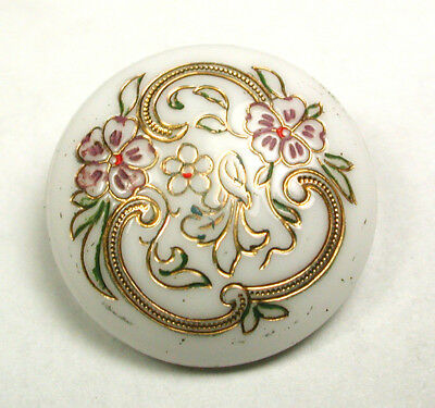 """BB Antique Victorian Glass Button Floral Design w Gold Luster 11/16"""""""