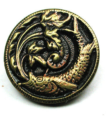 """BB Antique French Tight Brass Button w/ Fanciful fish Design - 5/8"""""""