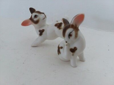 Lot of 2 Bone China Vintage Rabbits brown and white happy  pair of bunnies 🐇🐇