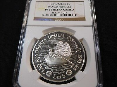 E73 Malta 1984 5 Lire World Fisheries NGC PROOF-67 ULTRA CAMEO