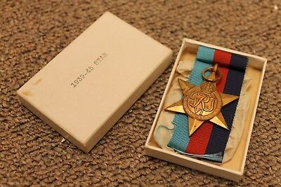 Canadian Silver 1939-45 Star Medal With Ribbon And Original Box Ww2