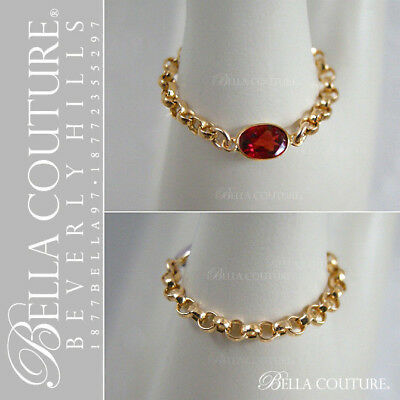 $395Rare Bella Couture® 14K Gold Garnet Antique Vtg Art Deco Eternity Chain Ring