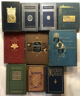 Lot of (10) Antique Vintage Decorative Hardcover Gilt Books 1873-1928