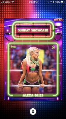 Topps WWE Slam 2017 Sunday Showcase Alexa Bliss Digital Insert Card