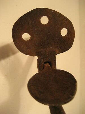 Large Early Antique Hand Forged Iron Bean Form Thumb Latch