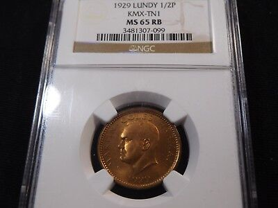 E88 Great Britain Lundy 1929 1/2 Puffin KMX-TN1 NGC MS-65 Red Brown