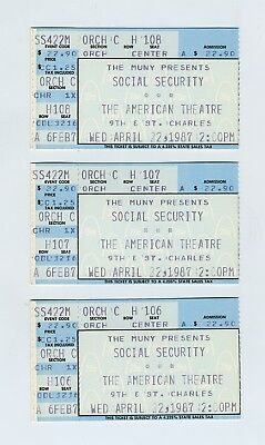 "(3) 1987 Ticket Stubs ""Social Security"" Play American Theatre St Louis MO wz2026"