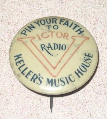 Early Celluloid Pinback Advertising Victor Radio and Keller's Music House RARE