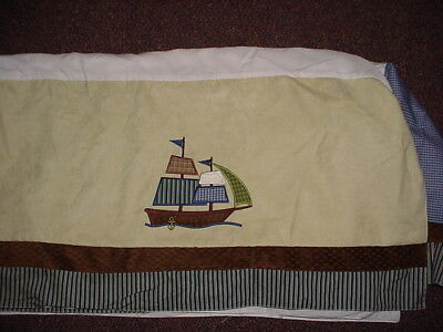 NoJo AHOY MATE Crib Skirt with Nautical Whales Pirates EXCELLENT!