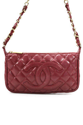 25198c2090ff Chanel Womens Vintage CC Quilted Caviar Leather Shoulder Handbag Red Gold  Tone