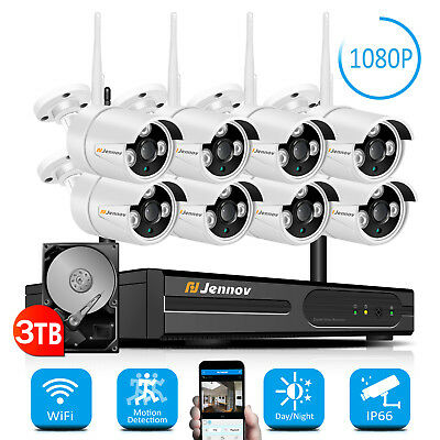 1080P 8CH NVR Wireless Security Camera System Outdoor Wifi Audio Home CCTV Video