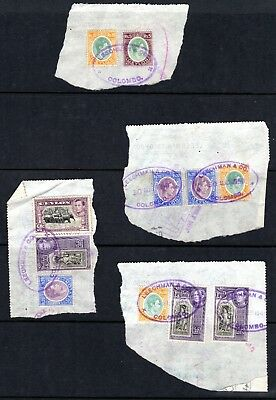 (J-426) Ceylon c.1949 parts of revenue docs with stamps glued on