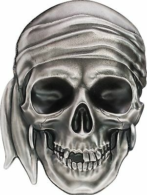 2017 $5 Palau Pirate Skull Antique Finish 1 oz. .999 Silver Coin