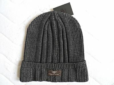 UGG Charcoal Slouchy Wool BEANIE HAT Ribbed OSFA Toque UNISEX Slouch New Tags