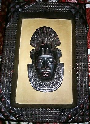 Wooden Mask African Hand Carved Vintage Wall Hanging Face Decor Arts Sculpture