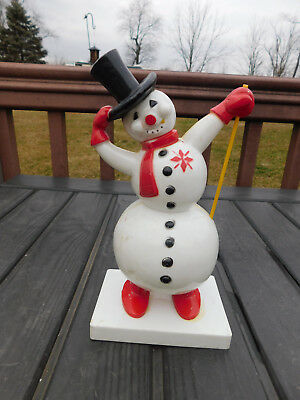 Vintage 1950's Rosbro Hard Plastic Lighted Christmas Frosty Snowman