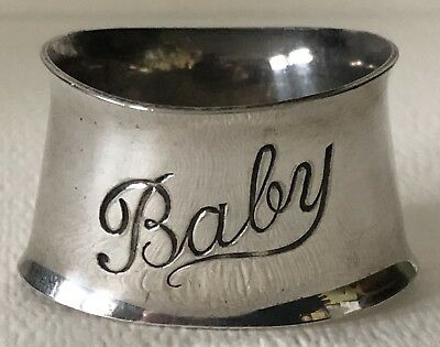 VINTAGE Antique Engraved BABY SILVER PLATE NAPKIN RING Silverplate