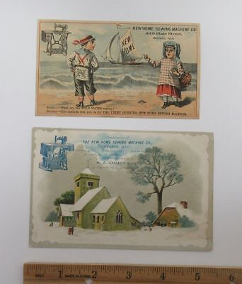 (2) 1800's New Home Sewing Machine Co Advertising Trade Cards IL MA OH WI wz1815