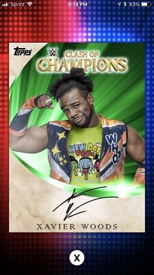 Topps WWE Slam Xavier Woods Green Clash Of Champions Signature Autograph 107cc