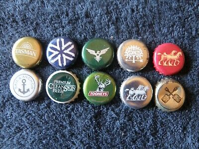 10 assorted bottle caps from different brewers - primarily Australian - lot 8