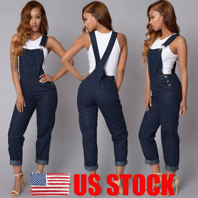 US Womens Baggy One-Piece Jumpsuits Overalls Denim Jeans Bib Trousers Long Pants