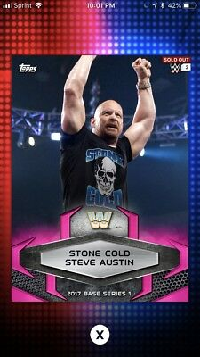 Topps WWE Slam 2017 Pink Base Variant Digital Card 50cc Stone Cold Steve Austin