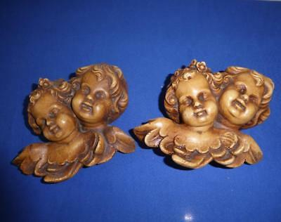 Pair Vintage  Hand Carved Winged Putti Cherub Angel Wall Mount