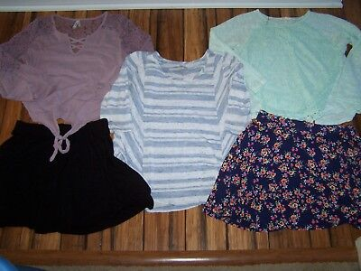 Lot of 5 Girls Clothes Tops and Skirts Size L XL 16