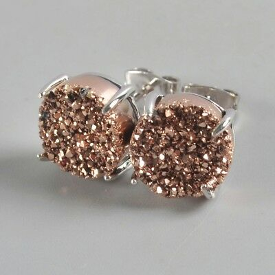 10mm Round Natural Agate Titanium Druzy Claw Prong Stud Earrings B073913