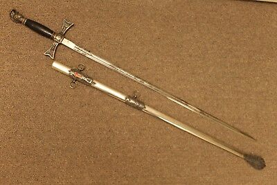 Early Masonic Knights Templar Sword Double Engraved 1890's Vintage
