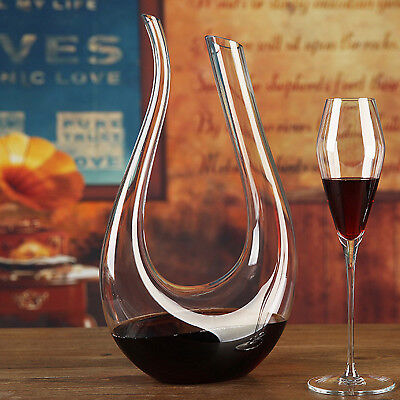1.5L Fashion Crystal Glass U-shaped Horn Wine Decanter Pourer Wine Container D