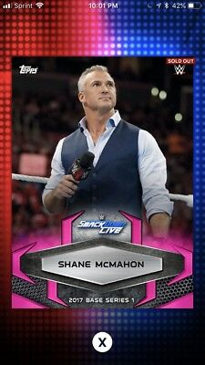 Topps WWE Slam 2017 Pink Base Variant Digital Card 50cc Shane McMahon