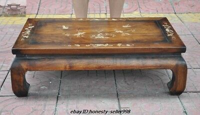 "28"" Old China Huanghuali Wood inlay Shell Flower Bird Book Table Desk Tea Tables"