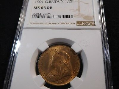 E148 Great Britain 1901 1/2 Penny NGC MS-63 Red Brown