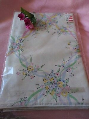 Vintage Pastel Florals Rectangular Tablecloth New in Package
