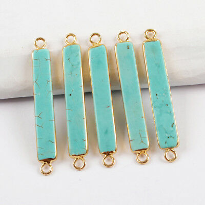 5Pcs Gold Plated Slim Blue Howlite Turquoise Bar Stick Connector Bail DIY BG1639
