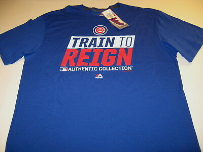 0997f9ee Chicago Cubs Train To Reign - Blue MLB Authentic Collection T-Shirt New! NWT
