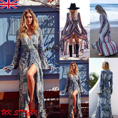 Womens Floral Long Maxi Dress Long Sleeve Evening Party Summer Beach Sundress