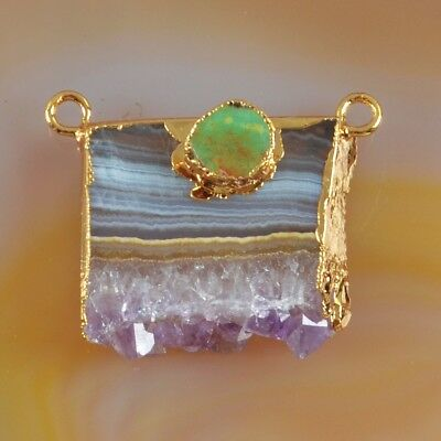 Rare Amethyst Druzy Slice & Genuine Turquoise Connector Gold Plated T073584