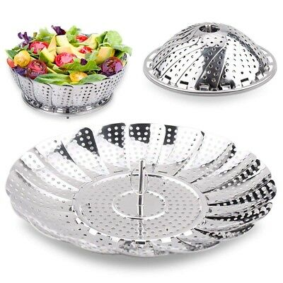 Veg Steamer Basket Vegetable Pot Food Collapsible Stainless Steel Cook Seafood