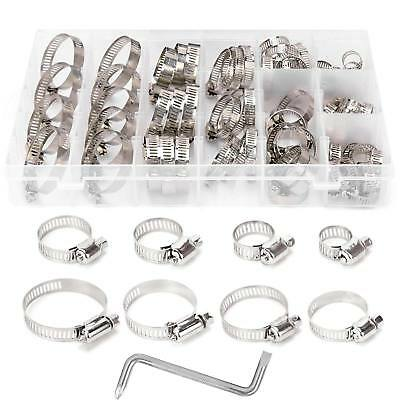 80Pcs Assorted Stainless Steel Hose Clamp Kit 8 Size Clips Set 8-44mm + Z Wrench
