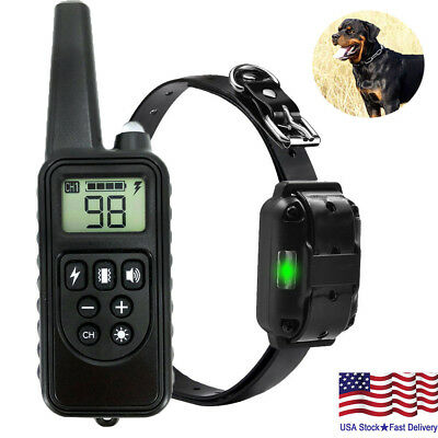 875 Yards Dog Shock Training Collar Remote Control Waterproof IP67 Rechargeable