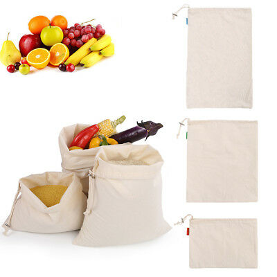 Reusable Cotton Mesh Produce Bag Grocery Fruit Storage Shopping String Bags Home