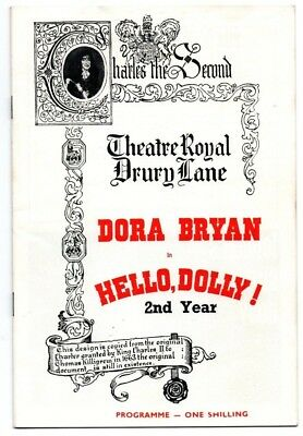 THEATRE ROYAL DRURY LANE: Hello Dolly Dora Bryan Programme 1967 - 2nd Year